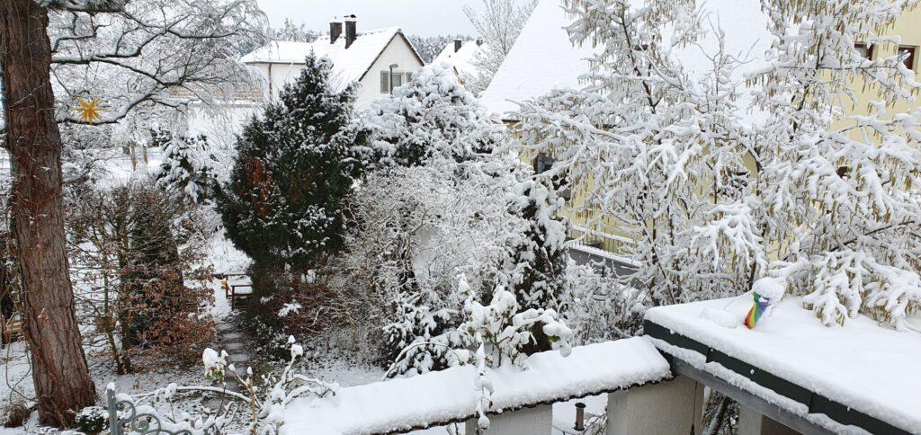 Gartenblick mit Schnee