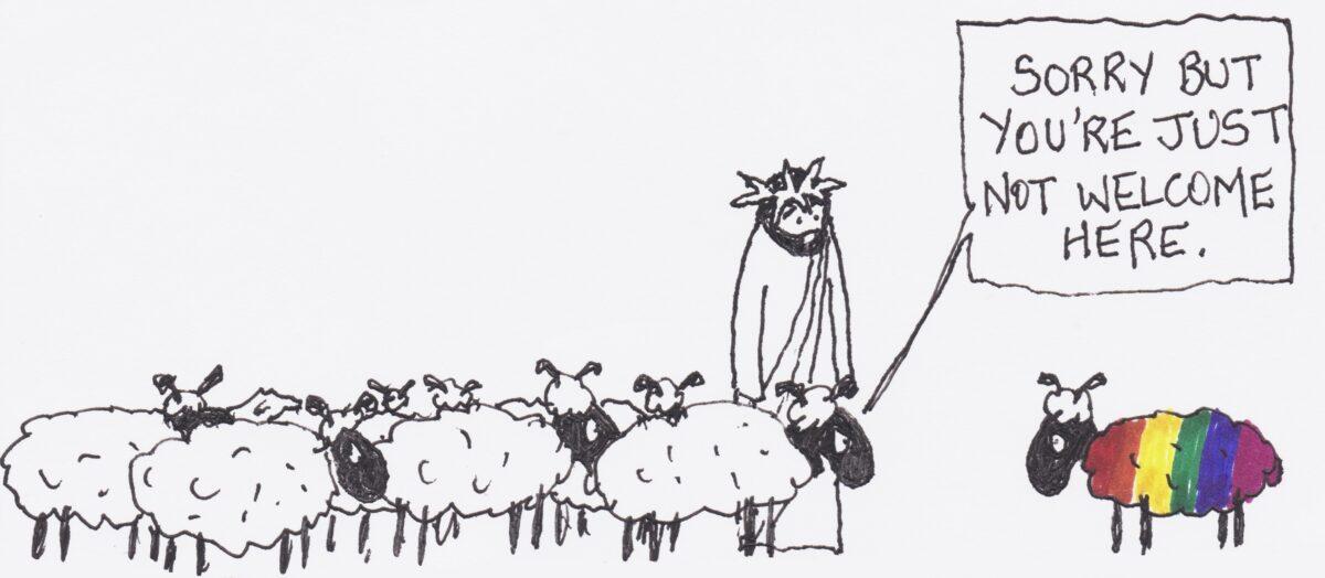 Ein weißes Schaf sagt zu einem LGBT-Schaf: Tut mir leid, aber du bist hier nicht wilkommen. Jesus steht dabei und schaut zu.