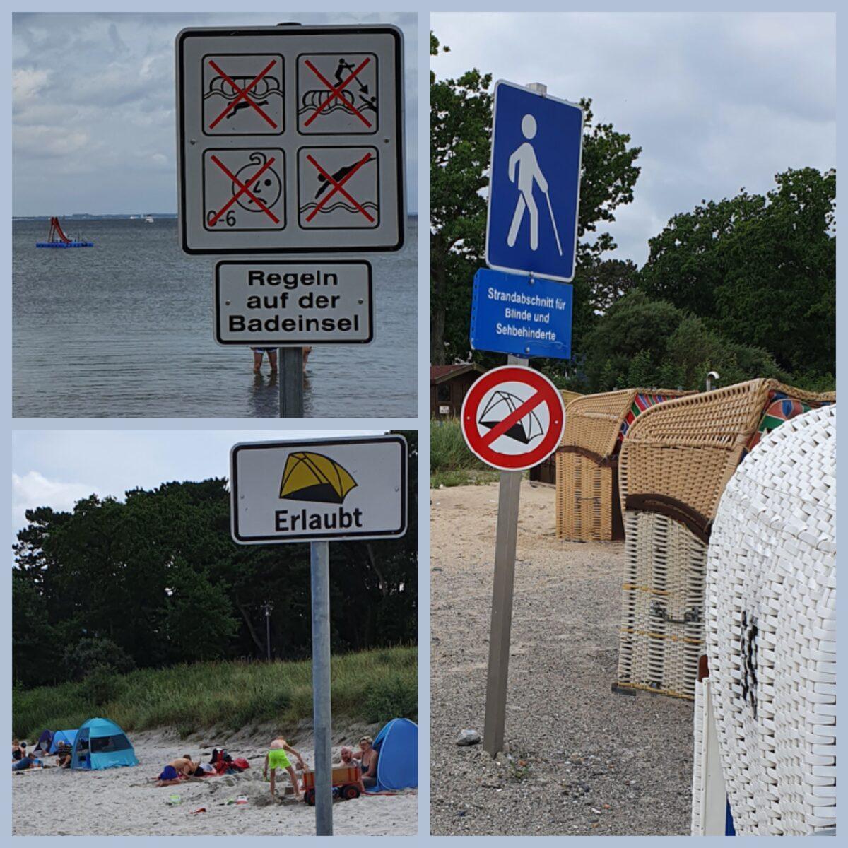 Gebots und Verbotsschilder am Timmendorfer Strand
